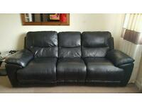 3 and 2 seater real black leather recliners