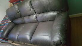 3+2 Recliner Leather Sofa - Black