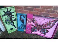 Garden wall art and freestanding bird