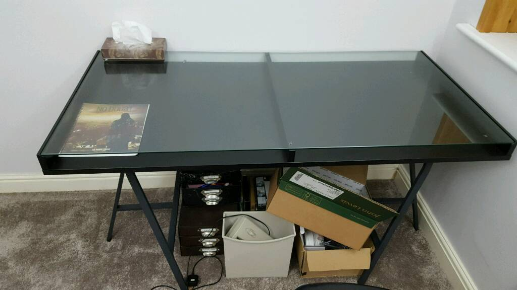 Ikea Black Vika Gruvan Glass Top Modern Office Computer Work Desk