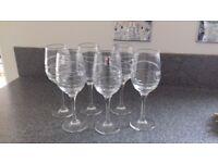 6 modern crystal wine glasses