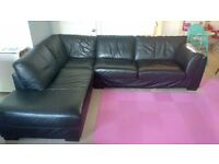 Large black leather corner sofa £100 ONO