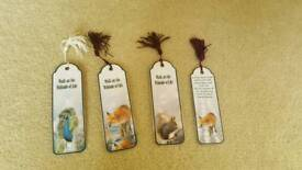 Set of 4 handmade bookmarks with tassels