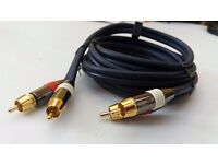 2 RCA Phono to 2 RCA Phono Lead Twin RCA Cable Lead Gold