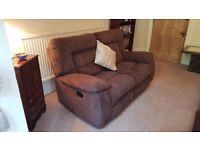 2 Seater Mocha Suede Recliner Sofa