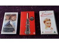 3 romance themed video tapes - Titanic, Romeo & Juliet, Emma