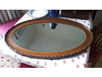 Oval Antique / Vintage Oak Framed Bevelled Mirror with Chain - 32x20 inches