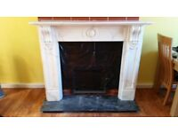 FOR SALE WHITE MARBLE FIREPLACE SURROUND . F 35