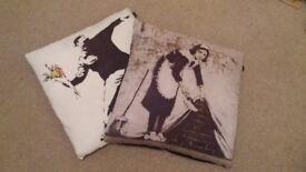 Banksy street art cushions x 2