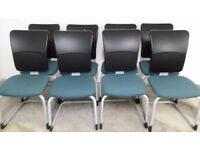 STEELCASE STRAFOR RECEPTION MEETING CHAIR WITH HIGH BACK - 9 AQUA AVAILABLE