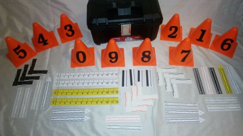 FORENSIC PHOTOGRAPHY POLICE CRIME SCENE KIT RULERS AND MARKERS
