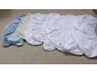 Moses basket/ pram fitted sheets. White, blue, cream