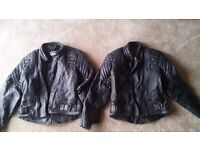 """Leather bike jackets, 38"""" and 40"""", and matching leather bike trousers 36"""""""
