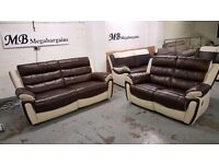 Ex-Display ScS FIESTA BROWN & CREAM LEATHER 3 Seater & 2 Seater Manual Recliner Sofas *CAN DELIVER*