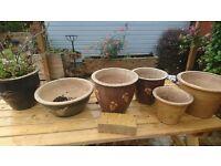 8 glazed ceramic pots planter