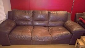 Large 3 seater & 1 seater sofa for sale, brown leather, used but still in good condition.