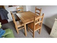 Wood brown table with 4 chairs