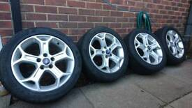"Ford 17"" alloy wheels 5x108 235 45 17 7-8mm tread tyres"