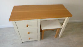 Cream and Wooden Jamestown Dressing Table with additional stool.