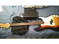 ENCORE BASS GUITAR + 10W KINGSMAN AMPLIFIER