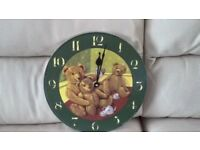 TEDDY BEAR WALL CLOCK - BRAND NEW NEVER BEEN USED