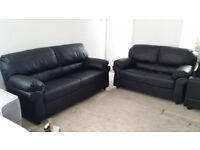 NEW Graded Black Leather 3+2 Sofa Suite Local Delivery Available