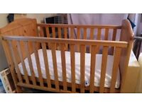 Cot bed and bedding for sale