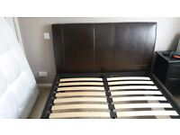 Brown leather faux double bed frame