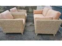 M&S rattan furniture: sofa and armchairs