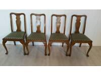 Set of Four Edwardian Walnut Dining Chairs