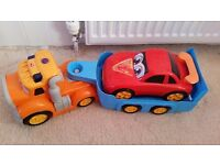 Large lorry and car