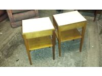 Matching pair of small tables with a drawer