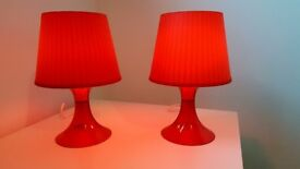 2 red Ikea Lampan table lamps with bulbs