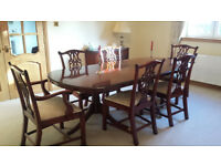 Bradley large mahogany dining table with 2 extension leafs and 6 chairs as new. £1200