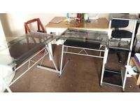 Smoked glass computer desk / workstation