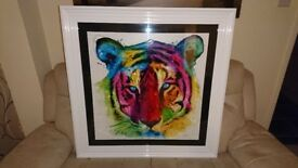 PATRICE MURCIANO TIGER FRAMED LIQUID ARTWORK - VIBRANT COLOURS