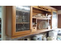 TWO KITCHEN WALL DISPLAY CABINETS (WOOD)