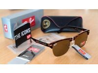 FREE DELIVERY TODAY! RAYBANS LADIES TURTLE SHELL CLUBMASTERS SUNGLASSES WOMENS