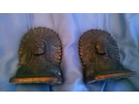 Antique Native American Bookends Brass