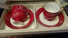 Outstanding rare bnib 2 Koransha Japanese. Porcelain cups& saucers