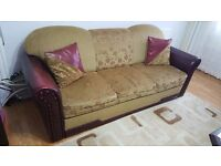 1x 3 Seater Sofa Bed, 1x 2 Seater & 1x Armchair Brown Fabric Floral, With Burgundy Leather Armrest