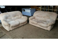 Pending Collection Pair of Faux Suede Sofas