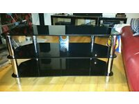 Gloss black and silver TV stand