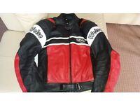 Leather sports motorbike jacket