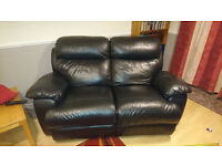 2-seater black leather recliner sofa SOLD