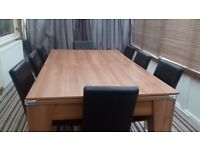 Oak Dining Table / Pool Table with 8 Chairs 7ft x 4ft.