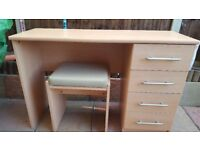 Beech affect dressing table and leather footstool