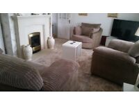 3 piece suite for sale .. 3 seater and 2 chairs .. excellent condition .. swival chair