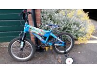 BMX kids bike - great condition - with stabilisers & helmet