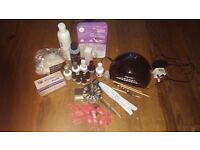 Gel nail kit - led lamp, gelish colours, all extras shown in photo inc opi files